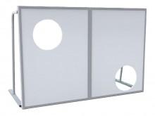 All-In Sport: Basisframe van aluminium, weerbestendige platen met 2 doelgaten, rond 55 cm. Dit topmodel is van balvangnetten achter de doelgaten voorzi...