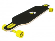All-In Sport: Elegante en behendige Freeride-Longboard 39 van 9-voudig Canadees Ahorn. Met licht verlaagd deck, drop through asophanging en zwarte gri...