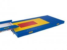 All-In Sport: Voor dubbele minitramp landingsmatten. Afmeting: 600x300x30 cm met gele landingszone 400x200 cm en met rode landingszone 200x100 cm voor ...