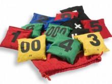 All-In Sport: Gekleurde hoezen van slijtvast 100% katoen, bedrukt met verschillende cijfers/getallen. Hygiënisch granulaatvulling. Ideaal voor balancer...