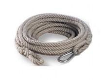 All-In Sport: Van zacht hennep, 16 meter lang, touwdikte 20 mm, met 2 lussen en 1 karabijnhaak veilig eindloos te verbinden.