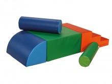 All-In Sport: <p>Set bestaande uit:</p> <ul> <li>1 trap 3-treden 60 x 60 x 30 cm, rood/oranje</li> <li>1 rechthoek 60 x 60 x 30 cm, groen/lichtgroen...