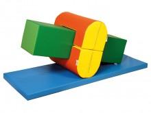 All-In Sport: <p>Set bestaande uit:</p> <ul> <li>1 rechthoek 120 x 30 x 30 cm, groen/lichtgroen,</li> <li>2 halfovale bruggen 60 x 30 x 30 cm, geel/...