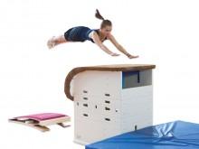 All-In Sport: Met de Kübler Sport springtafel-kastcombinatie brengt u meer afwisseling in de sporthal. Daarnaast te gebruiken bij recreatie en training...