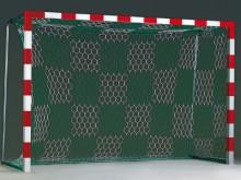 All-In Sport: In officiële afmeting: 3 m breed, 2 m hoog, boven 80 cm, onder 100 cm diep. Maaswijdte 10 cm. Absoluut gelijkmatige mazenoptiek en hoge e...
