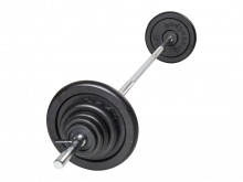 All-In Sport: Bestaande uit een lange halterstang 180 cm met veersluiters en schijven 2 x 15, 2 x 10, 2 x 5 en 4 x 2,5 kg.