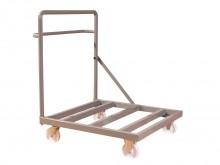 All-In Sport: Stabiele staalconstructie met plank en zwaar belastbare wielen, 125 mm doorsnede. 2 bok- en 2 zwenkwielen. Voor 36 matten 100 x 100 cm.