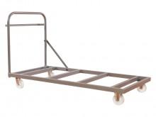 All-In Sport: Stabiele staalconstructie met plank en zwaar belastbare wielen, 150 mm doorsnede. 2 bok- en 2 zwenkwielen. Voor 17 matten 200 x 100 x 4 cm.
