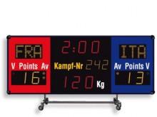 All-In Sport: Wedstrijd scorebord op transportwagen voor flexibel gebruik, met geïntegreerde toeter (100 dBa). Functies: