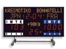 All-In Sport: Wettkampf-Anzeigetafel auf Rollwagen für flexiblen Einsatz mit eingebautem Horn (100 dBa). Funktionen nach neuesten Vorschriften 2009 des...