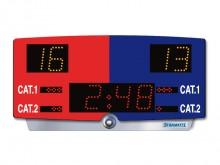 All-In Sport: Draagbaar, op accu werkend compact scorebord met geïntegreerde toeter (90 dBa), voor flexibele, stroomonafhankelijke toepassing op juryta...
