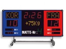 All-In Sport: Wedstrijd scorebord op transportwagen voor flexibele toepassing met geïntegreerde toeter (100 dBa). Functies: vechttijd en verlengingstij...
