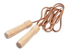 All-In Sport: Leren touw, 270 cm, in kogelgelagerde houten draaigrepen voor optimaal springcomfort.