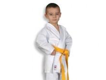 All-In Sport: Licht jeugd- en starterspak inclusief witte band. Broek met elastisch band.<br />Materiaal: 100% katoen.