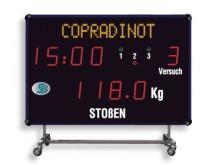 All-In Sport: Wettkampf-Anzeigetafel auf Rollwagen für flexiblen Einsatz mit eingebautem Horn (100 dBa).<br />Funktionen:<br />- Zeitmessung: Konzentra...