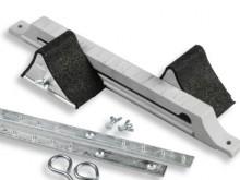 All-In Sport: Van gegoten aluminium met geleidingsribbels en instelmarkeringen, aluminium blokken bekleed met Regupol, dubbele geleidingsopening en 2 a...