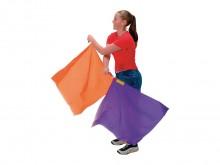 All-In Sport: Ritmiekvlag van 100% nylon met ingenaaid granulaat in 1 hoek en zwenkbare lus. Afm.: 50 x 50 cm, kleuren assorti.