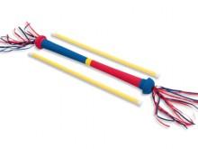 All-In Sport: Kunststof Devil-Stick met stokken met schuimstof ommanteling, ideaal voor kinderen en starters. Lengte ca. 60 cm.