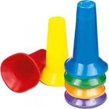 All-In Sport: Deze polyethyleen markeringskegels zijn uniek en voordelig. Hoogte 16 cm, diameter onderzijde 9,6 cm.