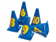 All-In Sport: Set van 11 kunststof kegels met cijfers van 0-10. Hoogte 23 cm.