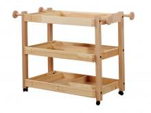 All-In Sport: Stabiele houten constructie, naturel gelakt, simpel verrolbaar op zwenkwielen. Kindvriendelijke opbergmogelijkheden voor verschillende gy...