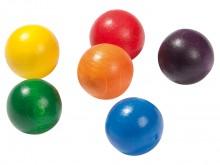 All-In Sport: Losse kogels voor de Balanceerwip. De 2 houten kogels hebben een doorsnede van 30 mm. De kogels zijn van gekleurd gelakt beukenhout.