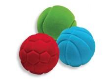 All-In Sport: Materiaal: rubber, gevlokt. Werpen, rollen, grijpen, voelen en veel meer. Doorsnede ca. 7 cm.
