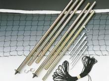 All-In Sport: Stalen palen Ø 22 mm, 3-delig met spaninrichting en haringen. Ook geschikt voor ringtennis en badminton.
