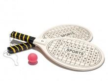 All-In Sport: Aus mehrfach verleimtem Schichtholz, Schlägerblatt ca. 20 x 24 cm, gelocht und liniert, mit Kunstledergriffband und Fangschlaufe, ca. 160 g.