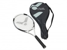 All-In Sport: Volwaardig, robuust racket, top bespannen voor gevorderde spelers. Materiaal: graphit-fused, blad: heart, ca. 310 gram, grip: medium, max...