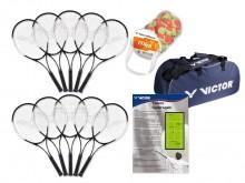 All-In Sport: <p>Speciaal voor schoolsport en dagelijkse training, geschikt voor kinderen v.a. 10 jaar. Bestaande uit 10 robuuste Victor 68 rackets, 4...