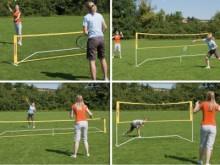 All-In Sport: Vrijstaand, flexibel in de lengte 3 meter of 6 meter en de hoogte 76,2 voor mini-tennis en 1,5 meter voor badminton opbouwbaar. Makkelijk...