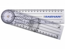 All-In Sport: De Goniometer met 360 graden-kop met 3 weergaven gekalibreerd en andere weergave in cm. Van doorzichtig, hoogwaardig kunststof materiaal.
