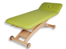 All-In Sport: Hochwertige Behandlungsliege mit Buchenholz Untergestell - Made in Germany. 2-teilige Liegefläche, Polster 200 x 65 x 8 cm, höhenverstell...