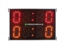 All-In Sport: Scorebord voor volleybal, basketbal, tafeltennis en veel meer. 1e  regel: speelstand 0-9, 2e  regel: speelstand/setstand of wisselend tij...