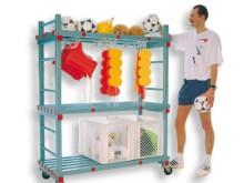 All-In Sport: 3 legplanken, vrije tussenhoogte 55/70 cm, bovenplank met 2 zijdelen 15 cm hoog met 30 haken aan de onderzijde, verrolbaar op edelstaal/n...