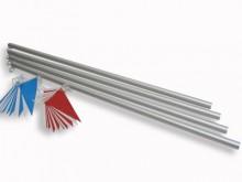 All-In Sport: Set met 4 geëloxeerde aluminium palen 190 cm lang (180 cm boven de grond) met ogen voor lijnbevestiging. Excl. lijnen en bodemhulzen.