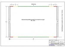 All-In Sport: Speelveldafbakening voor waterpolo, 30 x 20 m volgens FINA regels. Een set bestaat uit <br />- 4 stuks korte lijnen,<br />- 2 stuks lange...