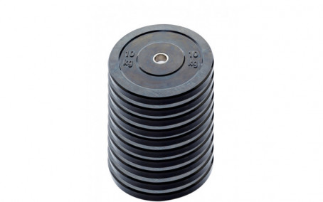 10-pack 10 kg Ol. Bumper Plates zwart