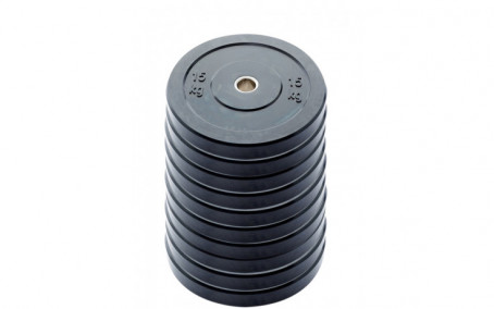 10-pack 15 kg Ol. Bumper Plates zwart