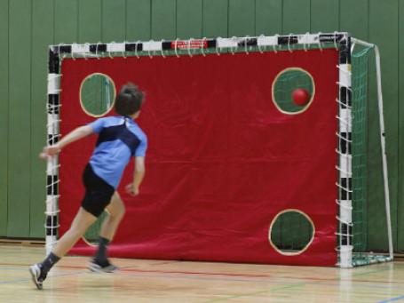 Handbal doelwanddoek met 4 gaten rood