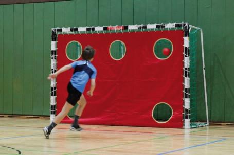 Handbal doelwanddoek met 5 gaten rood