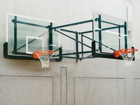 Basketbal-wandinstallatie overhang 225 cm zwenk- en in hoogte verstelbaar