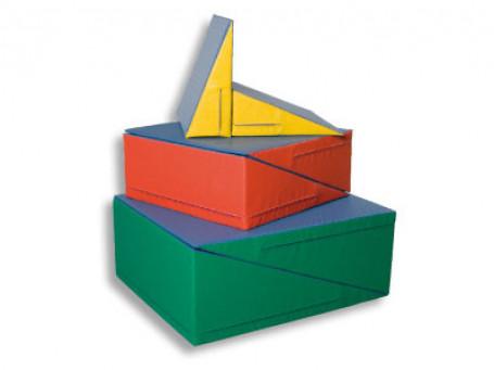 Schuine mat 75 x 75 x 30 cm blauw/rood