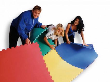 Puzzelmat 100x100x4 cm blauw/rood