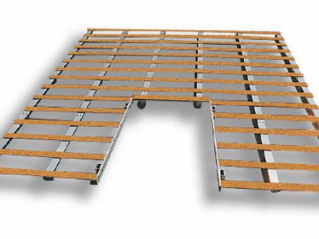 Lattenframes van alu./hout voor hoogspringkussen