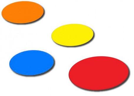 Flatmarkers Ø 20 cm set van 5 stuks geel